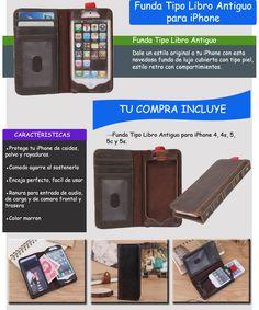 Funda Tipo Libro Antiguo Iphone 4 4s 5 5s Y 5c - $ 198.00