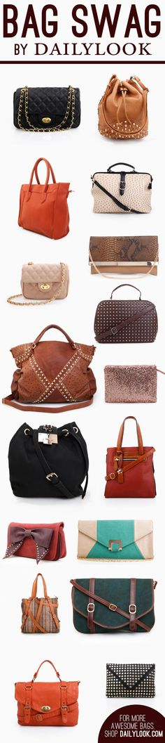 Bag Swag by DailyLook! Follow the image link to shop these bags! @dailylook #dailylook #dailylooksugarandspice #bags #clutch #spikes #quiltedbag #chains #fashion #style #accessories