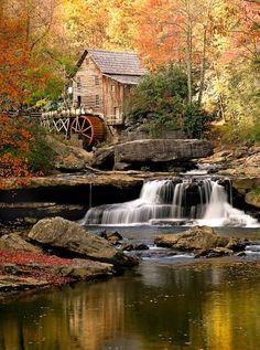Glade Creek Grist Mill, New River Gorge, West Virginia Virginia Occidental, Monongahela National Forest, New River Gorge, Forest Cabin, Autumn Scenes, Le Moulin, Belle Photo, West Virginia, Land Scape