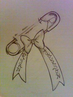 Kids names?! #bow #tattoo #safteypin #TattooIdeasForKidsNames