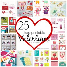 25 Free Printable Valentines {for your kids to hand out} #valentinesday #printables