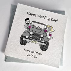 The CJ Jeep Wedding Card is available in a range of colours, with personalised message for weddings or anniversary. Jeep Wedding, Our Wedding, Wedding Messages, Wedding Cards, Alternative Wedding Stationery, Types Of Jeeps, Cj Jeep, Happy Wedding Day, Bride Bouquets