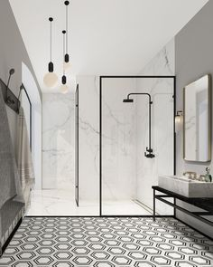 Modern Monochrome Bathroom Ideas: Black & White Bathroom Inspiration The Crittall-inspired interiors Black White Bathrooms, White Bathroom Decor, Small Bathroom, Modern Bathrooms, Bathroom Showers, Basement Bathroom, Shower Rooms, Bathroom Grey, Modern Bathtub