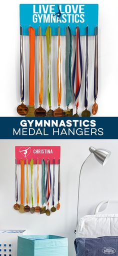 Proudly display your gymnastics medals with our hooked on medals hanger! Personalize yours for an extra special touch. Gymnastics Bedroom, Kids Gymnastics, Gymnastics Coaching, Amazing Gymnastics, Gymnastics Gifts, Bedroom Themes, Xmas Crafts, Girl Room, Hanger