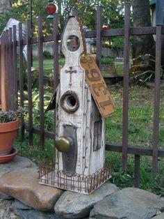 Church Birdhouse with tiny iron fence.