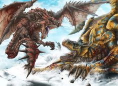 Monster Hunter: Rathalos vs. tigrex  by *HectorHerrera