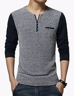 Hot Sale New Autumn Men's T Shirt Fashion Patchwork Long Sleeve T Shirt Mens Clothing Trend Slim Fit Casual Buttons Top Tees Formal Shirts, Casual T Shirts, Men Casual, Branded T Shirts, Printed Shirts, Mens Clothing Trends, Chemise Fashion, T Shirt Picture, Tee Shirt Homme