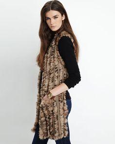Love Token Knitted Rabbit-Fur Hi-Lo Vest, Tan - Neiman Marcus Last Call