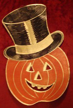 "1960 Happy Holiday of Battleboro, Massachuetts 'Pumpkin And Hat' Aluminum Embossed Decoration. Two Sizes: 9"", 12 1/2"""