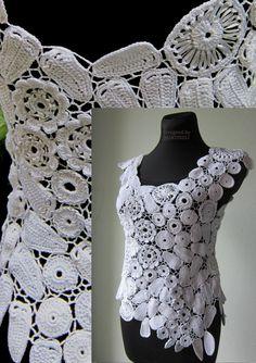 White Crochet Blouse Irish Crochet Sweater Blouse  by MARTINELI