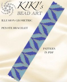 This is an own designed pattern in PDF format, downloadable directly from ETSY.  This pattern is for my Illusion, geometric peyote bracelet, which is created in odd, 2 drop peyote. The pdf file includes: 1. a large picture of the pattern 2. a large, detailed graph of the pattern, 3. a bead legend with the colour numbers and count of the delica beads for the suggested length 4. a word chart of the pattern  Please note that my patterns do not include instructions for how to do the peyote…