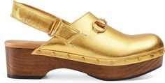 Amstel metallic leather clog - The Amstel clog in metallic leather with our signature Horsebit, rounded gold studs and velcro slingback.      Gold metallic leather     Women's     Horsebit detail