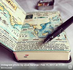 Travel journals, travel journal scrapbook, travel journal pages, notebo Bullet Journal Images, Bullet Journal Inspiration, Journal Ideas, Voyage Sketchbook, Travel Sketchbook, Art Sketchbook, Scrapbook Journal, Travel Scrapbook, Kunstjournal Inspiration