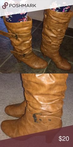 Tan buckle boots! Excellent used condition! Worn very little, no scuffs! Shoes Winter & Rain Boots