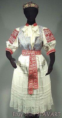 SLOVAK-FOLK-COSTUME-Trencin-regional-kroj-embroidered-blouse-beaded-headdress