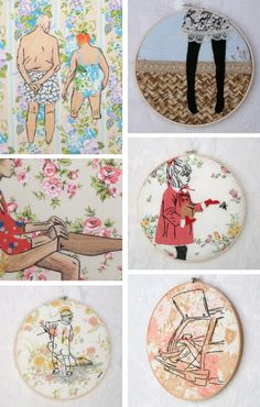 I love the bottom right one. Embroidered art.