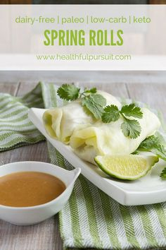 Low-Carb Spring Rolls with Ginger Dipping Sauce (keto, paleo + dairy-free) (Healthful Pursuit) Paleo Recipes, Low Carb Recipes, Whole Food Recipes, Snacks Recipes, Crockpot Recipes, Recipes Dinner, Potato Recipes, Casserole Recipes, Soup Recipes