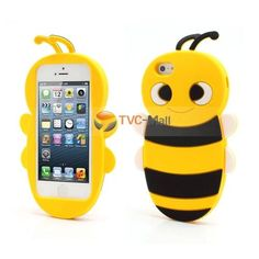 Yellow Cute Flying Honey Bee iPhone 5 3D Animal Silicone Case