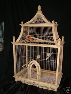 Antique Vintage Handmade Wood Bird Cage from France Now $295 | eBay