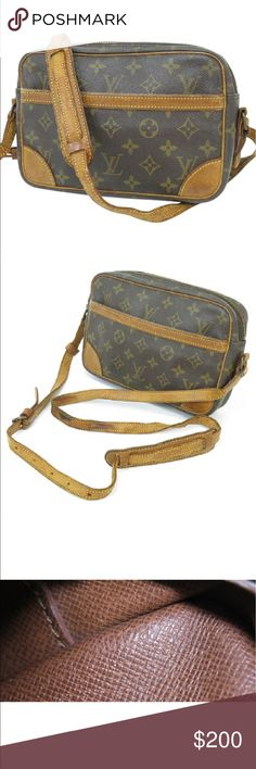 "Louis Vuitton Trocado Authentic Louis Vuitton Trocado 27; Preloved & good condition with signs of wear including patina, scratches, marks, scuffs, deterioration in side pockets shows peeling with black residue (see pix); Cracks & loosening of straps & strap attachments Mild aged leather & closest odor; 10""x7""x 2.5""; pet & smoke free environment Louis Vuitton Bags"