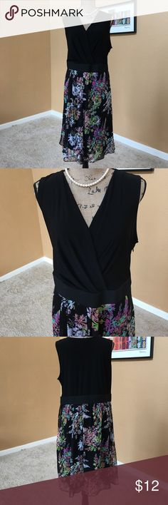 Lane Bryant Black Floral Print Dress Super comfy summer dress.  Size 18.  There is a very small hole in the center of the back (last pic).  Otherwise in good condition. Lane Bryant Dresses Midi