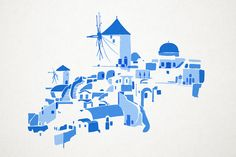 Greek islands - Santorini & Symi on Behance Watercolor Sketch, Watercolor Landscape, Watercolor Illustration, Watercolor Paintings, Watercolors, Travel Themes, Travel Posters, Myconos, Guache