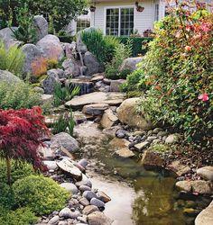 Adding a water garden to your landscape creates beautiful and relaxing scenery. more gardening trends Backyard Water Feature, Ponds Backyard, Backyard Landscaping, Landscaping Ideas, Backyard Ideas, Backyard Waterfalls, Garden Ponds, Koi Ponds, Big Backyard