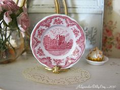 Pink Old Castles Dollhouse Plate by alavenderdilly on Etsy, $4.00