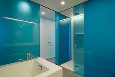 Plexiglass sheet for bathroom backsplash. why not try plexiglass as a kitchen backsplash? Bathroom Splashback, Bathroom Wall, Bathroom Interior, Kitchen Backsplash, Glass Shower Doors, Sliding Glass Door, Sliding Doors, Bad Inspiration, Bathroom Inspiration