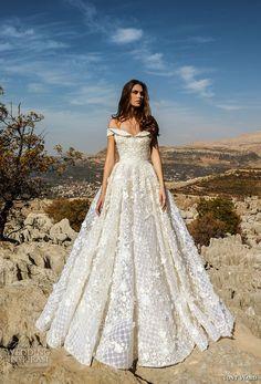 tony ward fall 2018 bridal off the shoulder semi sweetheart neckline full embellishment romantic glamorous a line wedding dress (7) mv -- Tony Ward La Mariée Fall 2018 Wedding Dresses