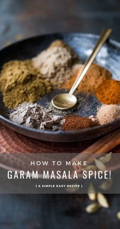 A simple homemade Garam Masala Recipe that can be made in 10 minutes with ground fragrant spices you already have in your pantry Easy healthy and aut. Homemade Spice Blends, Homemade Spices, Homemade Seasonings, Spice Mixes, Do It Yourself Food, Masala Spice, Curry Spice, Mardi Gras Party, Seasoning Mixes