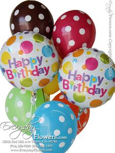 Happy Birthday Polka Dot Balloon Bouquet by Everyday Flowers