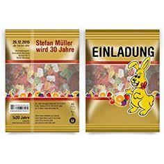 Einladungen (40 Stück) als Gummibärchen Packung Hasen Einladungskarten
