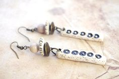 Pink opal earrings, rustic earrings, ceramic dangle earring, artisan jewelry…