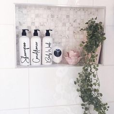 Tulip Bathroom Bottles Pump & Label Perfect for Shampoo Conditioner etc Pantry Organisation, Household Organization, Bathroom Organization, Bathroom Ideas, Kitchen Containers, Buy Kitchen, Kitchen Jars, Pantry Labels, Little Designs