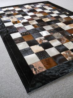 Brown Mix Patchwork cowhide rug  www.tapijtenenhuiden.com Cow Rug, Cow Hide Rug, Leather Tooling, Tooled Leather, White Books, Patchwork Rugs, Leather Phone Case, Natural Leather, Area Rugs