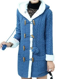BuyTrends.com Offers Cheap Trendy High Quality Single Breasted Horn Button Thickening Long Pattern Knitwear Cardigan Sweater [BS71723396] with High Quality and Wholesale price US$41.99