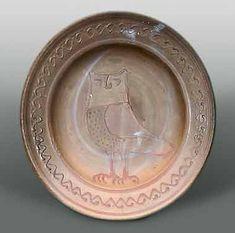 Bernard Leach : Owl plate unglazed, 1936