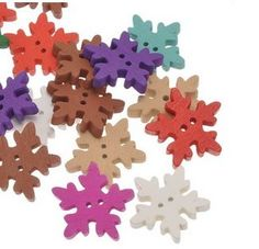 Snowflake wooden buttons.  Let it snow!