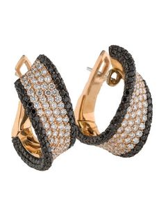 Palmiero Black and White Diamond Hoop Earrings w/ Tags