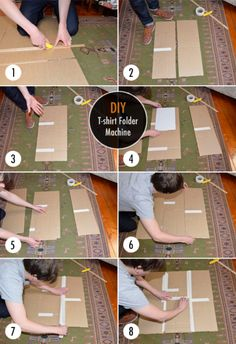DIY Cardboard T-Shirt Folder: In the video, you'll see how with just a few pieces of cardboard, you can make folding t-shirts easier than folding towels.