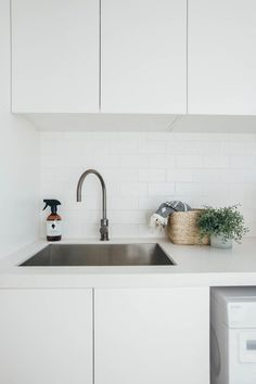 Bathroom Storage Ideas For Small Spaces - Unity Fashion Home, Small Laundry Rooms, Renovations, Kyal And Kara, Small Bathroom Decor, Coastal Homes, Laundry In Bathroom, White Laundry, Undermount Kitchen Sinks