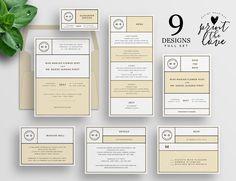 Modern Wedding Invitation Suite Printable by PrintTheLoveBoutique