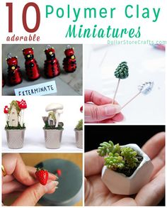 10 Miniatures to Make with Polymer Clay - Who doesn't love a cute miniature? Plus, these miniature polymer clay projects make great stashbusters. Use up every bit of the clay you bought! DIY idea for clay art