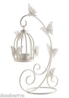 10 BUTTERFLY/BIRDCAGE TEA LIGHT HOLDERS WEDDING TABLE DECORATIONS.FREE TEALIGHTS