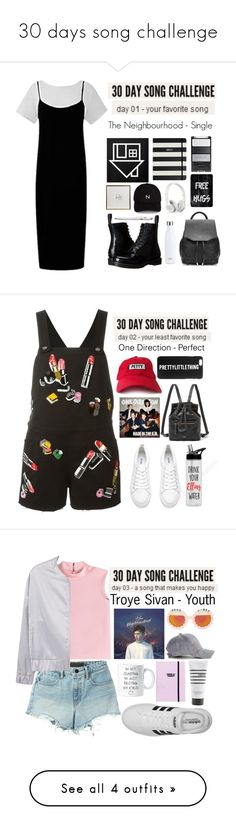 """""""30 days song challenge"""" by hellowaffles ❤ liked on Polyvore featuring Dr. Martens, New Black, Monocle, Kate Spade, rag & bone, S'well, Casetify, band, TheNeighbourhood and song"""
