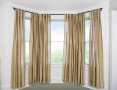 Curtain rods for bay window have simplified things as far as home decor and interior go. These rods are helpful in decorating your bay window with pretty curtains. Diy Bay Window Curtains, Double Rod Curtains, Cool Curtains, Small Curtains, Blue Curtains, Blackout Curtains, Wooden Curtain Rods, Curtain Brackets, Meal Prep