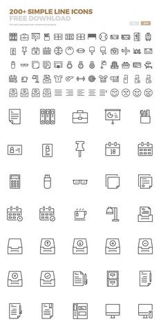 Free Line Icons Available in Ai and Eps (200 Icons) #freeicons #psdicons…