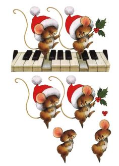 ☆ CHRISTMAS PRINTABLE; Layered Dance of the Christmas Mice. ☆ Merry Christmas!!! (this pinner has so many lovely pintables on her board.)