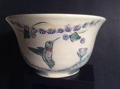 Vintage Ceramic Bowl Hummingbird Design John Jan Myers Hickory Groves SC Blue   eBay